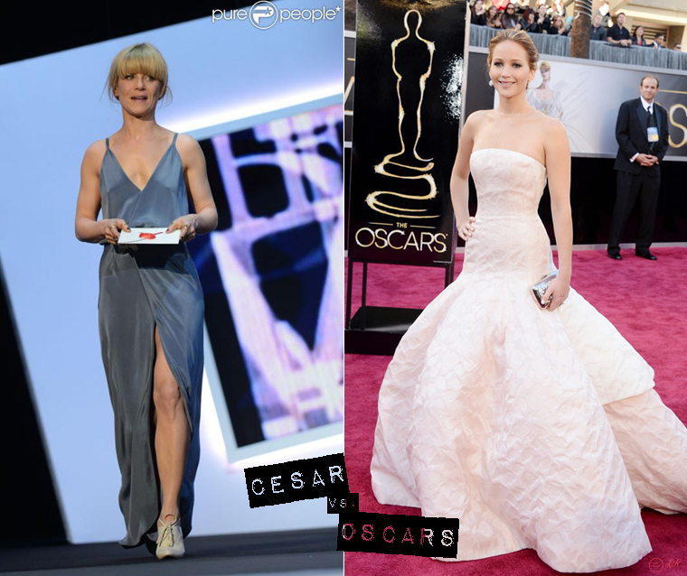 cesar-vs-oscars-2013-red-carpet-marina-fois-jennifer-lawrence