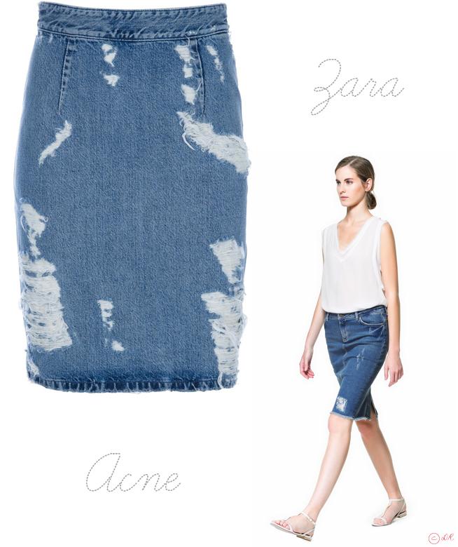 cd69f8cf242916 Acne VS Zara : La Jupe Denim Destroy ! | Percy Mode