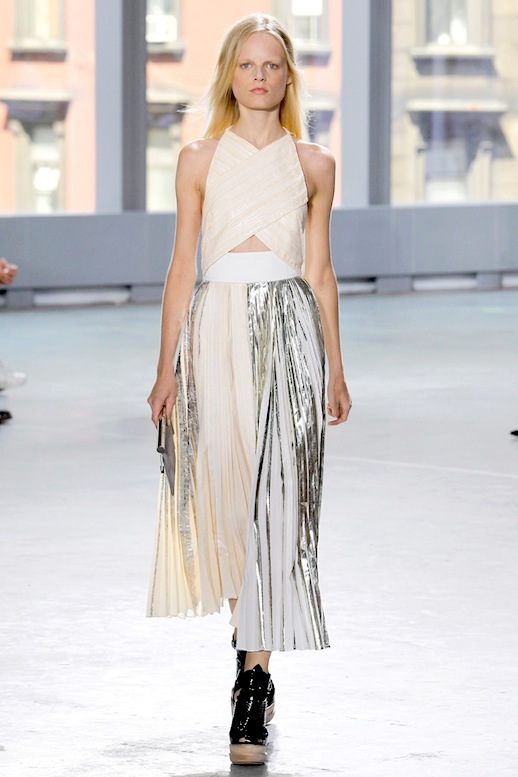 Proenza-Schouler-Metallic-Pleated-Dress-SS-2014