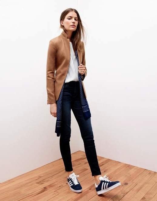 Fall-Look-Camel-Blazer-Pinstripe-Top-Silk-Scarf-Skinny-Jeans-Adidas-Sneakers-Via-JCrew